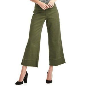 Gap Wide Leg High Rise Army Green Cropped Jeans